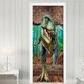 Наклейки на дверь 3D динозавр  разбивающая стену  гостиная обои для двери спальни  ПВХ самоклеющиеся наклейки на стену  имитация наклейки на ...