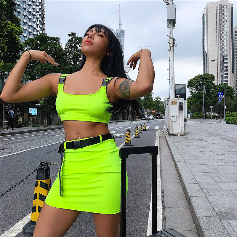 Women 2 Pieces Sets Tank And Skirt With Belt Summer Ladies Neon Pink Sexy Buckle Shoulder Bralette Cropped Top Dress Suit Femme