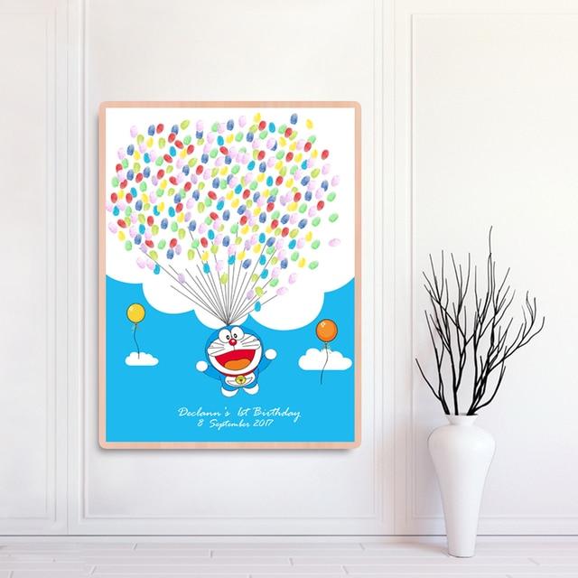 Для подарков для будущей матери для крещения ребенка Декор отпечаток пальцев Подпись картина пожелание гость книга день рождения детский сад Doraemon святое Первое причастие