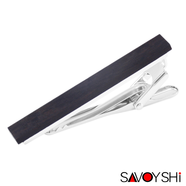 SAVOYSHI Low-key Luxury Ebony Tie Clips for Mens Necktie tie bar clasp High Quality Black Wood Tie Clip Party Gift Brand Jewelry