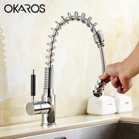 Kitchen Faucet Pull Out Brass Chrome Finish 360 Degree Rotation Single Handle Vessel Sink Hot And