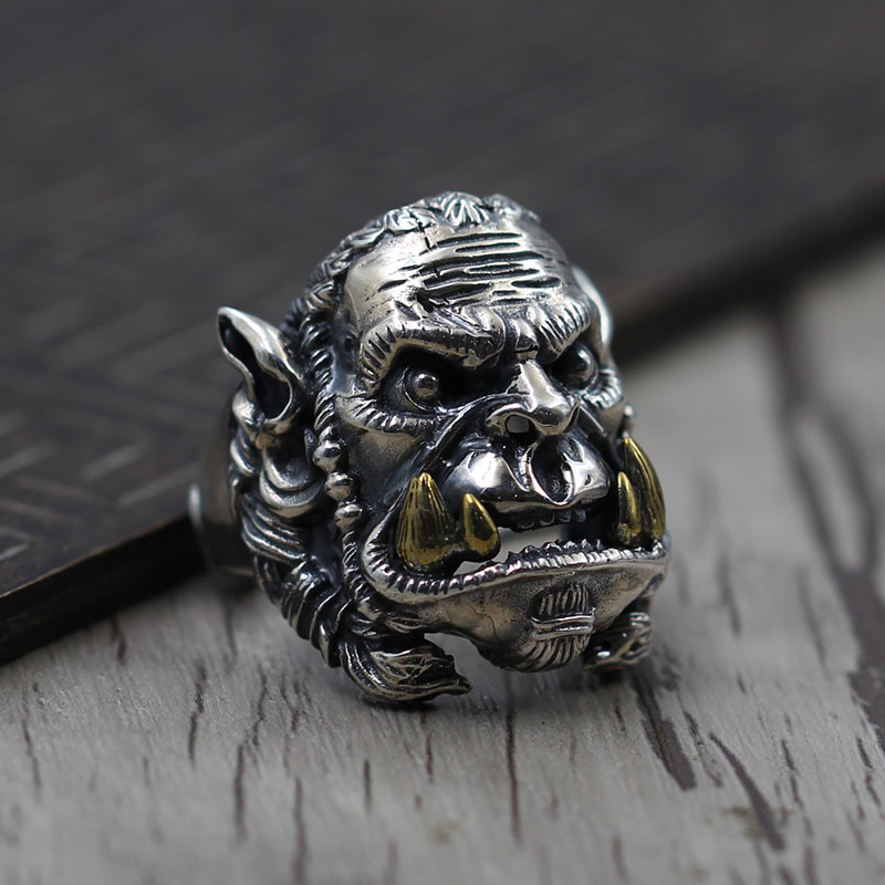S925 Silver Carved dulongtan domineering personality of Thai silver jewelry ring build Retro Old ring thai silver ring retro unique exaggerated domineering kamen rider s925 sterling silver ring men
