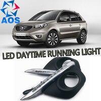 2 Adet/takım Araba styling Günışığı Gündüz ışık led drl Renault Koleos Için 2011 2012 2013 2014 su geçirmez günışığı