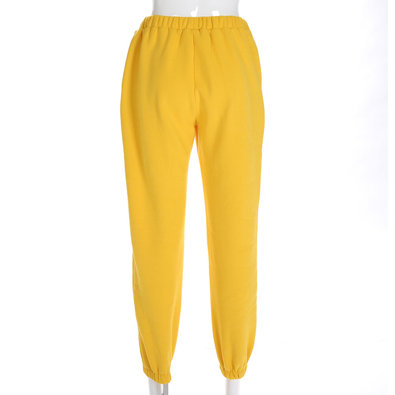 Cool Women High Waist Pants Solid Yellow Loose Joggers Female Trousers 19 Autumn Winter Track Pants Punk Capris Gray Yellow 6