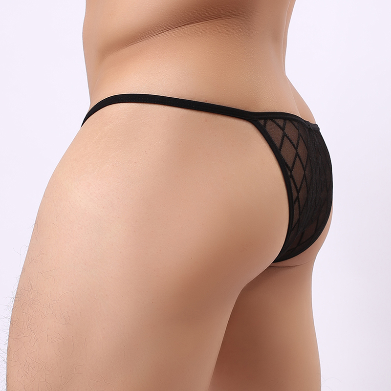 Wowhomme Brand Man Underwear/Male Sexy Mesh Plaid Transparent Thongs/Gay Funny Fishnet Mini Strings Jockstraps Panties