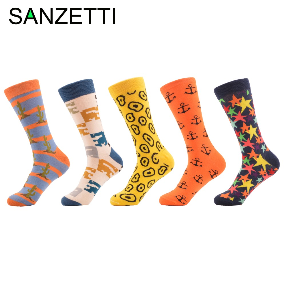 SANZETTI 5 pair/lot Mens Novelty Casual Socks Christmas Gift Combed Cotton Winter Crew Socks Crazy Party Dress Socks US 7.5-12