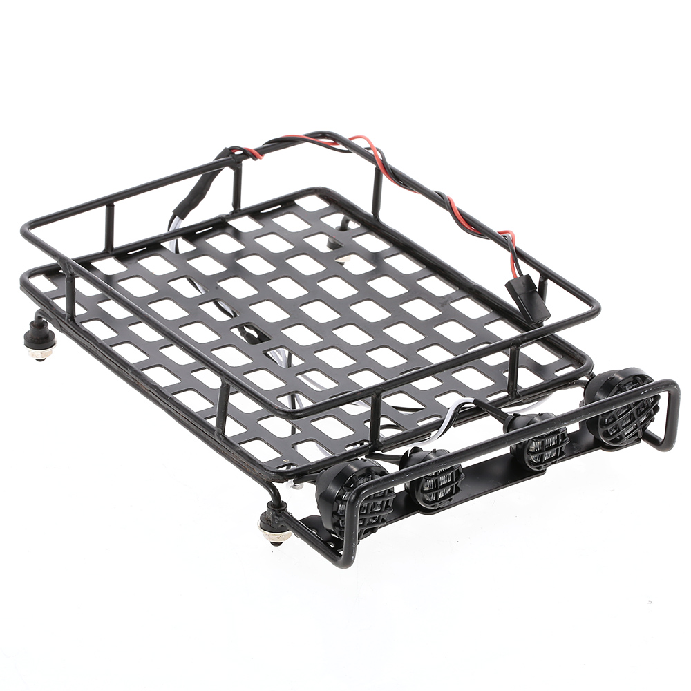 Roof Rack Luggage Carrier with LED Light Bar for 1/10