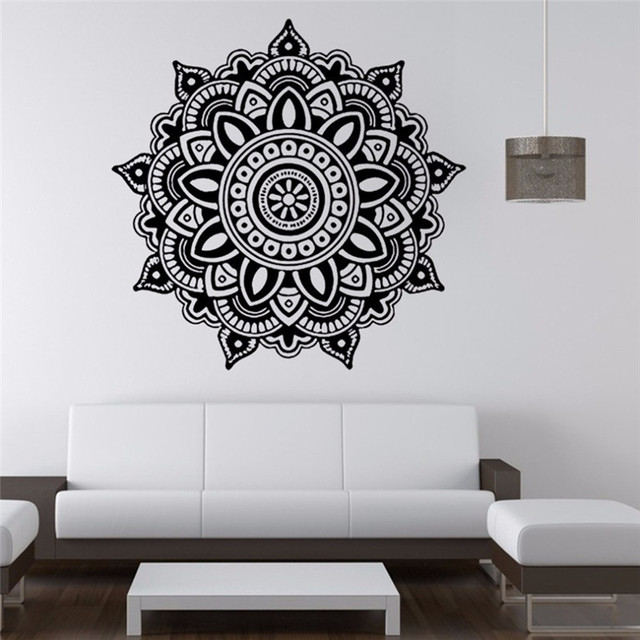 Big mandala flower indian bedroom wall decal art stickers for Mural mandala