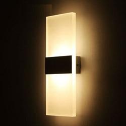 Mini 3/6/12/18 W Led akryl Wandlamp AC85-265V 14 CM/22 CM lange ciepły wit Beddengoed Woonkamer kryty wandlamp
