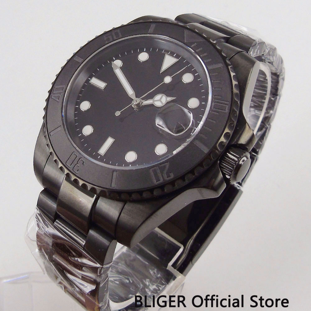40MM BLIGER Black Sterile Dial PVD Case Mechanical Watch Sapphire Glass Automatic Movement Men s Watch