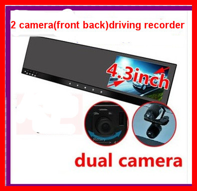 4.3rearview mirror  DVR  dual lens driving recorder camera video recorder parking reverse mirror DVR system DVD/VCR/CCD/GPS