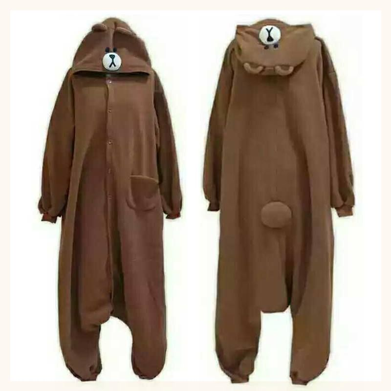 Women For Animal Pajama Animal Cartoon Bear Adult Men  Onesie Fleece Flannel Jumpsuit Brown Onesies148-188 Cm S M L XL