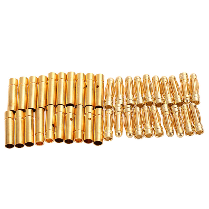 20 pair lot brushless motor high quality banana plug 3 0mm 3mm gold bullet connector plated for esc battery 20 pair/lot Brushless Motor High Quality Banana Plug 3.0mm 3mm Gold Bullet Connector Plated for ESC Battery