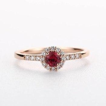 MYRAY Natural Genuine Round Cut Ruby Halo Engagement Ring Diamond Wedding Band Solid 14k Rose Gold Bridal Set Anniversary Gift ruby anniversary ring