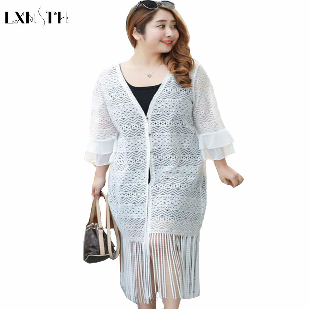 White Long Cardigan Women Summer Plus Size Clothes Fashion Coat ...