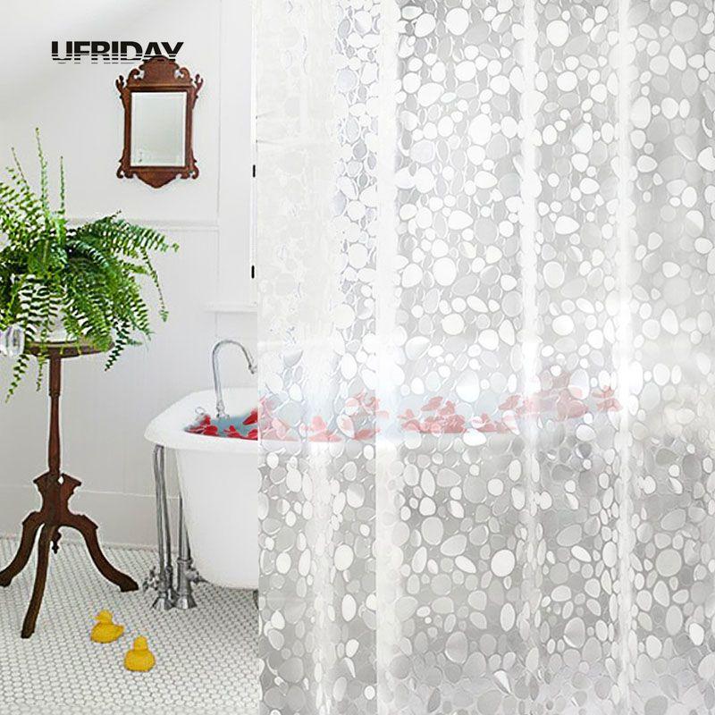 UFRIDAY PVC 3D vodoodporna zavesa za tuširanje Prosojna bela - Gospodinjski izdelki