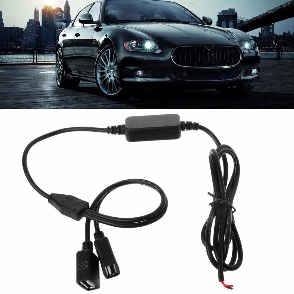 Ootdty автомобиля Зарядное устройство двойной Порты USB гнездовой разъем 12 В до 5 В 3A DC Питание конвертер для DVR авто-электроника