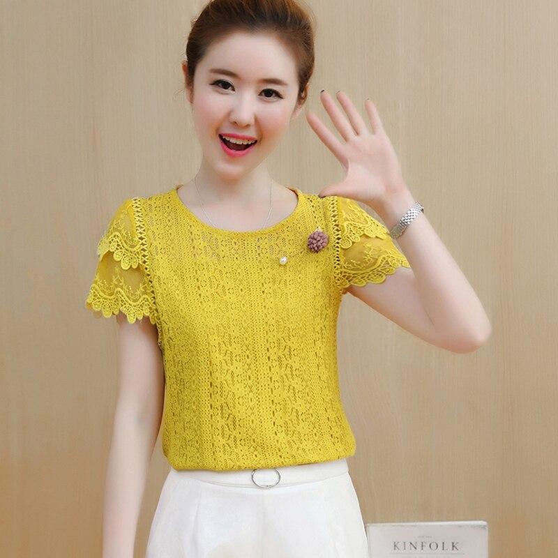 Lace   Blouse     Shirt   Women Summer   Blouses   2019 Korean Short Sleeve Patchwork Hollow Out White Top Plus Size Women Clothing Female