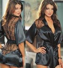 Новый Шелковый сна Халаты Для женщин шелк рубашка ночная рубашка сексуальное белье, пижамы Кружево ночное ночь сексуальные Платья для женщин Ночной сон платье