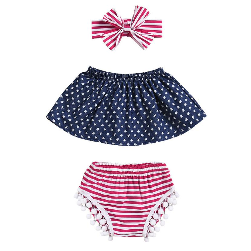 2018 New Arrival 3Pcs Infant Baby Girls 4th Of July Star Tops+Shorts+Headband Outfits Set Clothes Sets May 3 drop shipping