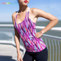 Colorvalue 3D Digital Gedruckte Yoga Sport Weste Frauen Schnell Trocknend Workout Fitness Tank Tops Sexy T-typ Gym Dance Sleeveless Shirts