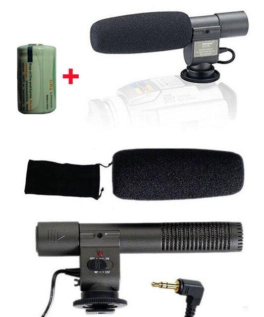 Stereo Microphone 3.5mm Condenser Camera Mic SG-108 SG108 for Canon Nikon Pentax Olympus Panasonic Digital SLR Cam + CR2 Battery