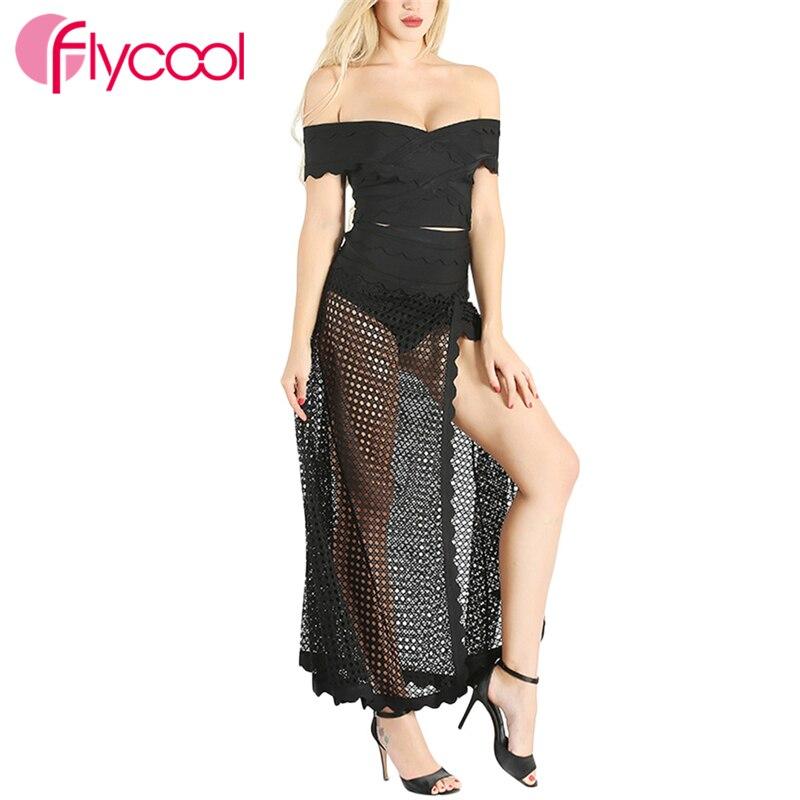 Flycool 2019 été femmes Sexy évider robe deux pièces ensemble pull épaule dénudée célébrité Club partie en gros Bandage robe