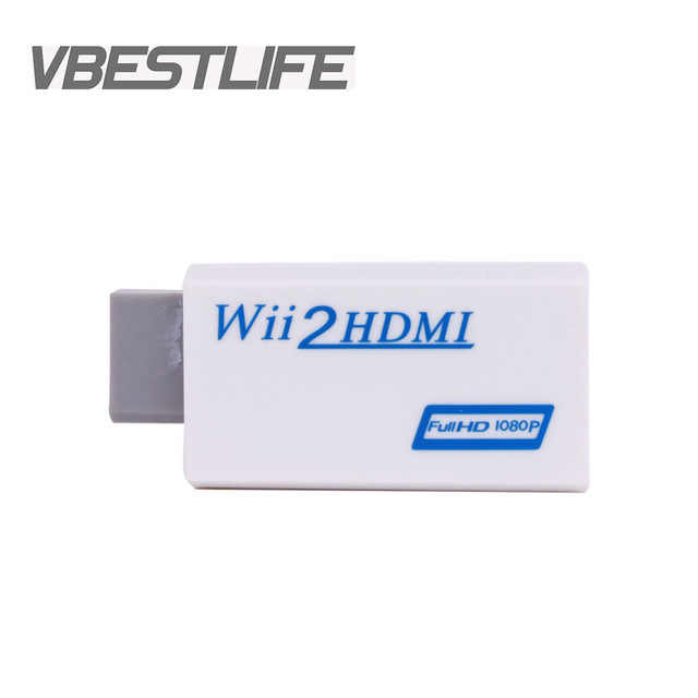 Wii2HDMI ホワイトフル Hd 480 p/720 p/1080 p 出力アップスケーリング 3.5 ミリメートルオーディオビデオ出力 wii hdmi Wii2HDMI アダプタコンバータ