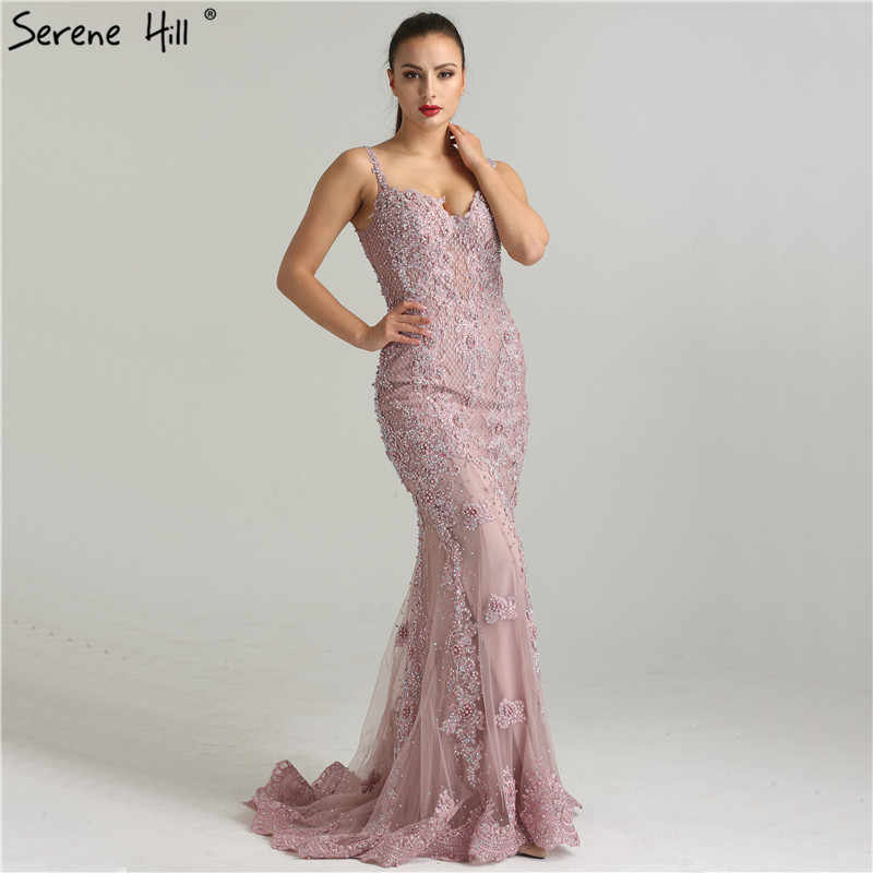 Sexy Spaghetti Straps Crystal Mermaid Evening Dresses 2018 New Real Photos  Dubai Robe De Soiree Party d9230c2a9732