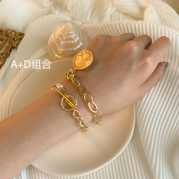 HUANZHI New Baroque Irregular Imitation Pearls Gold Metal Link Chain Bracelets 4