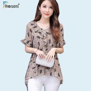 Женские шифоновые блузки, винтажный Топ с рукавами-фонариками и цветочным принтом, 5XL 4XL 3XL m117