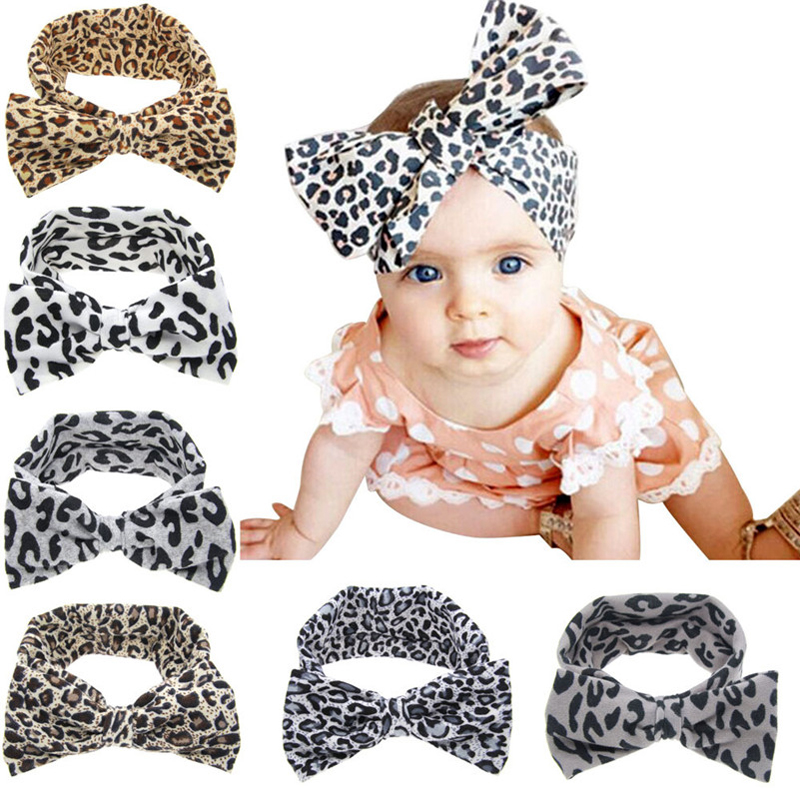 Baby Girls Fashion Leopard Headbands Turban Bandana Hair Band Kids Soft Stretch Big Bow Bowknot Head Wrap Hair Band Accessories