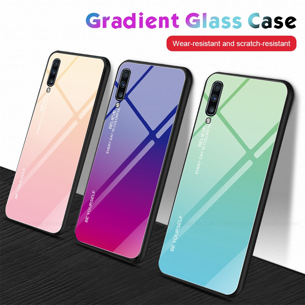 Gradient Tempered Glass Case For Samsung Galaxy M20 M10 A30 A50 A10 A40 A20E A60 A70 Hard Cover For Galaxy M10 M20 M30 A 30 50 image