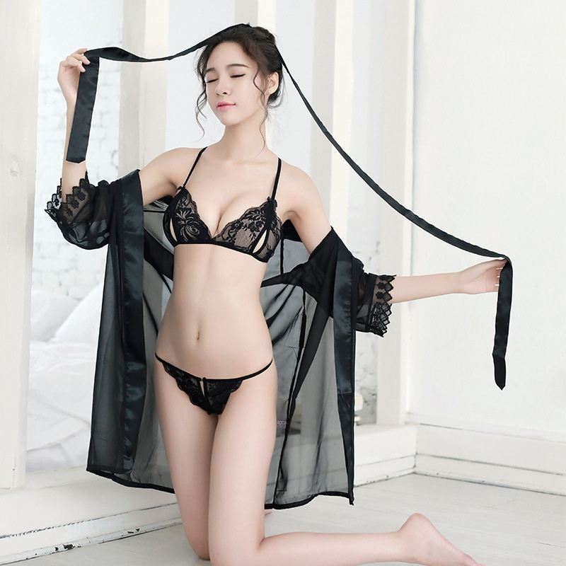 Pink See Though Womens Tops And Blouses Porn Bridesmaid Robes Sexy Lace Robes With Bra Set Women Bathrobe Kimono Lace Robe
