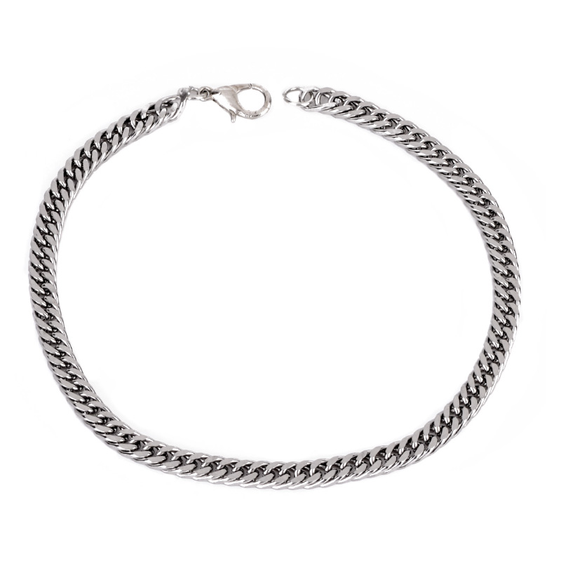 1 PC Hot Alloy Jewelry Curb Link Chain Silver Bracelet Bangle For Men Charm Bracelets Accessory Fashion Jewelry in Chain Link Bracelets from Jewelry Accessories