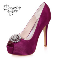 Fashion Ladies High Heels Open Toe Woman Shoes Wedding Party Bridal Pumps Crystal Decorated 5 Heel