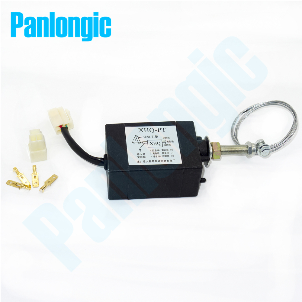 Panlongic XHQ-PT 12V/24V Power On/Off Pull Type Diesel Engine Parts Stop Solenoid for Generator Spare Parts weifang 495 k4100 r4105 r6105 diesel engine and diesel generator parts 12v 24v stop solenoid for sale