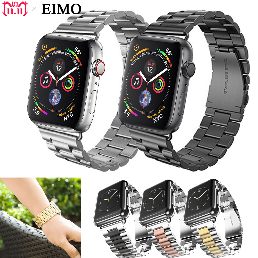 EIMO Band For Apple Watch series 4 44mm 42mm iwatch 4/3/2/1 Stainless Steel Strap Link Bracelet Wrist Belt Watchband Accessories цена и фото