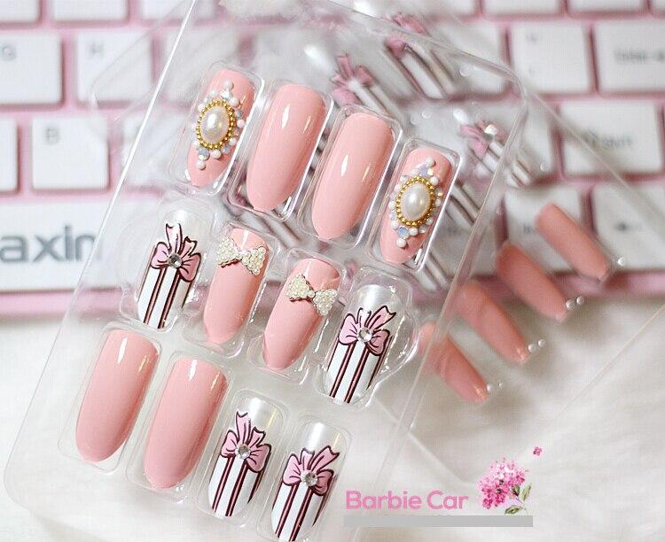 Wholesale 8 Style New fashion pink fake nails Japanese style bridal ...