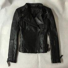 Winter Woman Genuine Leather Jacket Fashion Street Black Sheepskin Real Leather Short Motorcycle Coat Top Quality S-XXXL