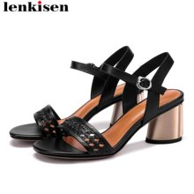 Lenkisen women brand weaving cow leather peep toe buckle strap summer streetwear solid color high heels plus size shoes L2f9(China)