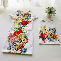 Women Brand Floral Relief Jacquard Pencil Dress Mother And Daugther Dresses Family Clothes Cheongsam Dress Mother
