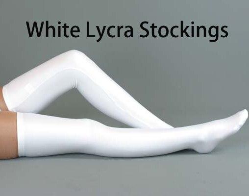 Free Shipping Lycra Zentai spandex Unisex White Spandex Stockings Cosplay Zentai Long Socks
