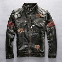 Натуральная кожаная мотоциклетная куртка Гонки AVIREXFLY мотогонщиков куртка натуральной кожи дороги езды куртка