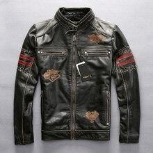 Мотоциклетная куртка из натуральной кожи, гоночная куртка AVIREXFLY, мотоциклетная куртка из воловьей кожи для поездок по дороге