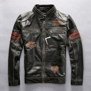 Image 1 - Genuine Leather Motorcycle Racing Jacket AVIREXFLY Motorbike MOTO Jacket cowhide leather Road ride jacket