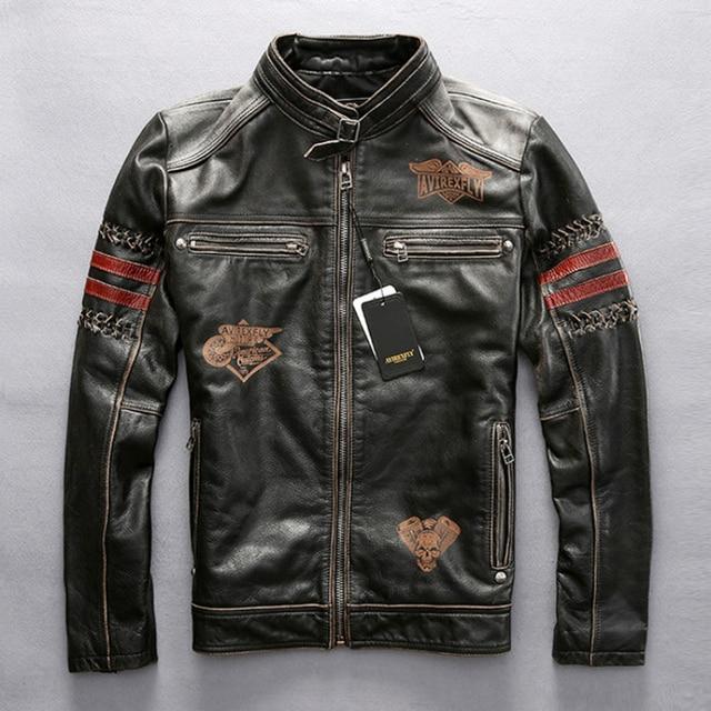 Genuine Leather Motorcycle Racing Jacket AVIREXFLY Motorbike MOTO Jacket cowhide leather Road ride jacket