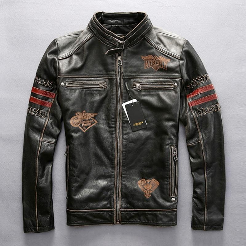 Genuine leather motorcycle racing jacket AVIREXFLY motorbike racing jacket cowhide leather road ride jacketGenuine leather motorcycle racing jacket AVIREXFLY motorbike racing jacket cowhide leather road ride jacket