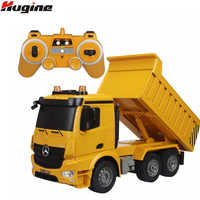 RC Truck Dumper 2.4G 4WD Remote Control Tittle Cart Engineer 6CH Recharger Demo Function with Lights and Sound Model Toys Hobby
