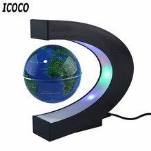 C образный светодиодный Плавающий глобус с картой мира, магнитный левитационный светильник, антигравитационный магнитный шар, светильник на Рождество, день рождения, украшение для дома